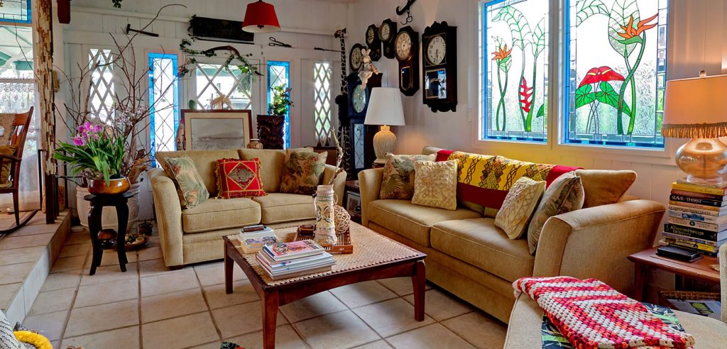 Livingroom with stained glass windows